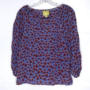 Anthropologie Maeve Heart Silk Kimono Top